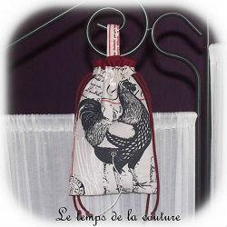 cuisine sac ficelle écru beige rouge noir bordeaux poule coq dijon gien chatillon loire couture création décoration ameublement fait main le temps de la couture