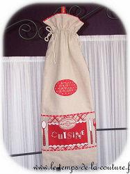 cuisine sac pain beige écru rouge dijon gien chatillon loire couture création décoration ameublement fait main le temps de la couture
