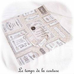 cuisine sac tarte beige taupe gris jacquard quiche gateau dijon gien chatillon loire couture création décoration ameublement fait main le temps de la couture