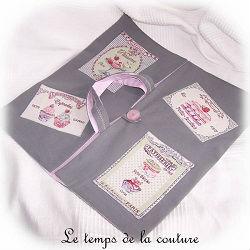 cuisine sac tarte gris rose vert jacquard quiche gateau dijon gien chatillon loire couture création décoration ameublement fait main le temps de la couture