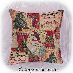 noël coussin housse jacquard cadeau décoratif dijon gien chatillon loire couture création décoration ameublement fait main le temps de la couture