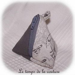 pochette berligot zippé gris romantique dijon gien chatillon loire couture création décoration ameublement fait main le temps de la couture
