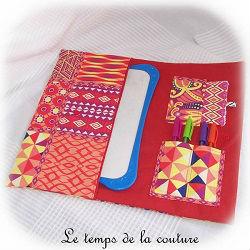 pochette  trousse droite ardoise rouge orange jaune bleu violet dijon gien chatillon loire couture création décoration ameublement fait main le temps de la couture