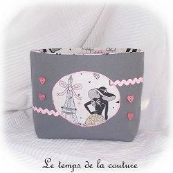pochette trousse vide poche soufflet gris rose blanc parisienne cuisine pratique maison dijon gien chatillon loire couture création décoration ameublement fait main le temps de la couture