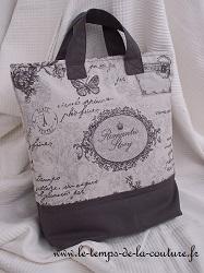 sac cabas zippé gris romantique