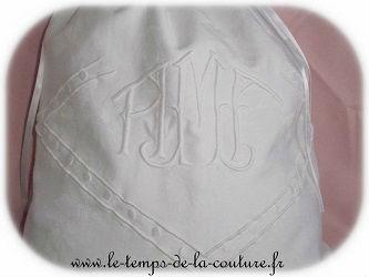 sac pochon linge lingerie blanc monogramme ancien