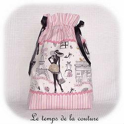 sac pochon linge lingerie blanc rose noir parisienne dijon gien chatillon loire couture création décoration ameublement fait main le temps de la couture