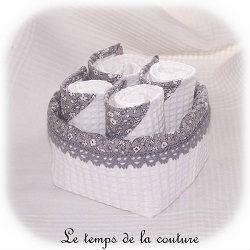 salle de bain corbeille serviette invités blanc gris fleur nid abeille dijon chatillon loire couture création décoration ameublement fait main le temps de la couture