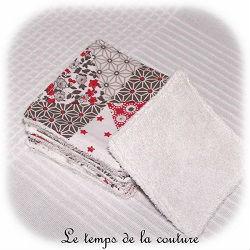 salle de bain lingette bambou pratique patch rouge gris dijon gien chatillon loire couture création décoration ameublement fait main le temps de la couture