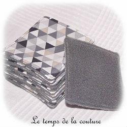salle de bain lingette bambou pratique blanc gris noir triangle dijon chatillon loire couture création décoration ameublement fait main le temps de la couture